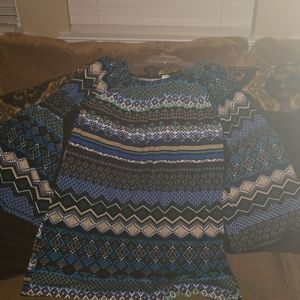 Multi-pattern Tunic with Bell Sleeves